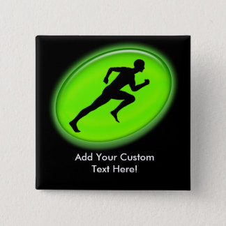 Green Glow Fitness Logo 15 Cm Square Badge