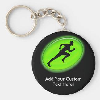 Green Glow Fitness Logo Basic Round Button Key Ring