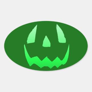 Green Glow Happy Halloween Oval Sticker
