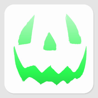Green Glow Happy Halloween Square Sticker