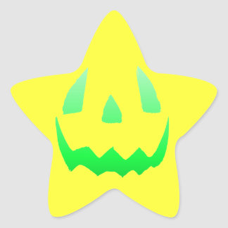 Green Glow Happy Halloween Star Sticker