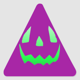 Green Glow Happy Halloween Triangle Sticker