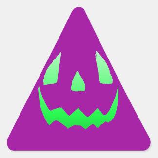 Green Glow Happy Halloween Triangle Sticker