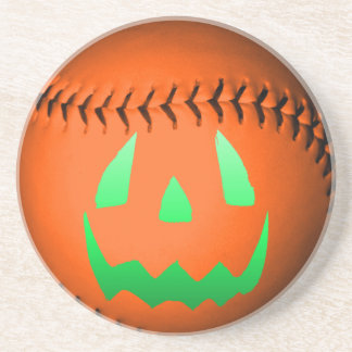 Green Glow Jack O' Lantern Baseball Beverage Coaster