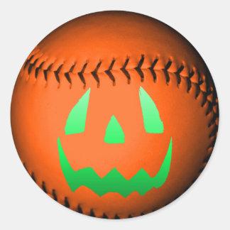 Green Glow Jack O' Lantern Baseball Classic Round Sticker