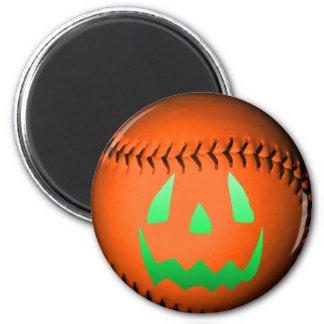 Green Glow Jack O Lantern Baseball Fridge Magnets