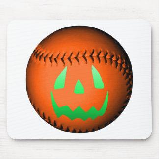 Green Glow Jack O Lantern Baseball Mousepad