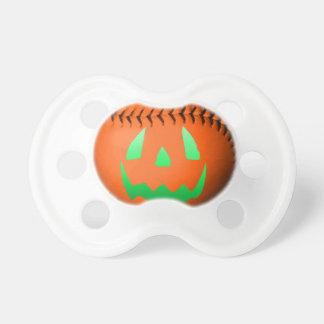 Green Glow Jack O Lantern Baseball Pacifier