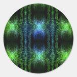 Green Glow Snake Skin Classic Round Sticker