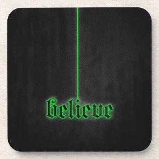 Green Glowing Believe Drink Coaster