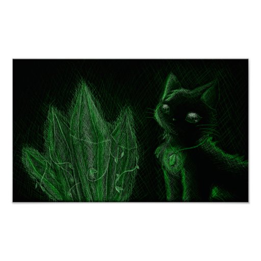 Green Glowing Gems Cat Poster