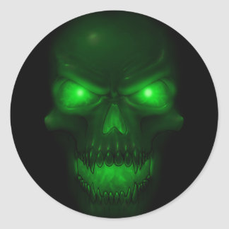 Green Glowing Skull Round Sticker