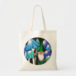 Green Gnome in Blue Mushrooms Bag