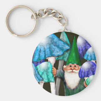 Green Gnome in Blue Mushrooms Keychain