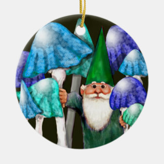 Green Gnome in Blue Mushrooms Ornament