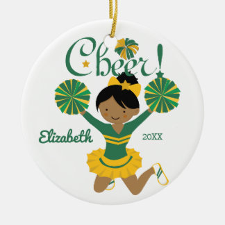 Green & Gold African American Cheerleader Ornament