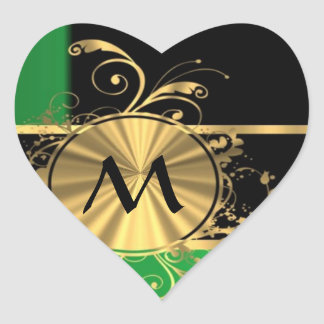 Green gold and black monogram stickers