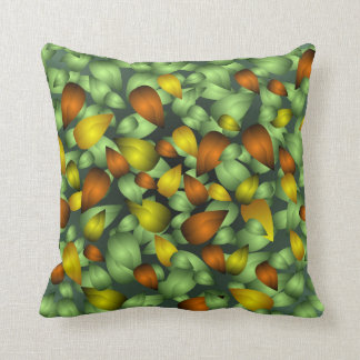 Green Gold and Copper Leaves Cushion
