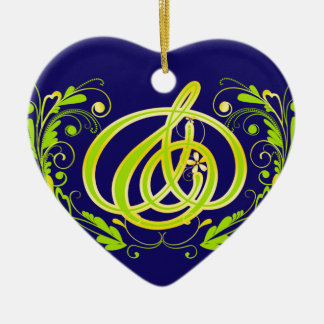 Green gold and mark leaf initial heart ornament Bl