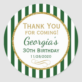 Green Gold Birthday Thank You Coming Favor Tags Round Sticker