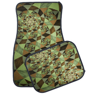 Green Gold Black Abstract Set of 4 Car Mats