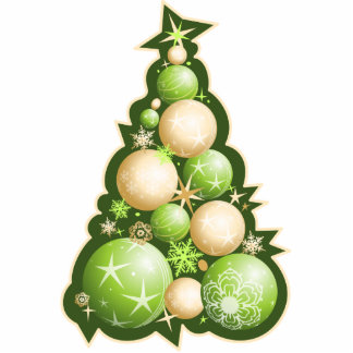 Green & Gold Bubbles Christmas Tree Photo Sculpture Decoration