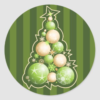 Green & Gold Bubbles Christmas Tree Round Sticker