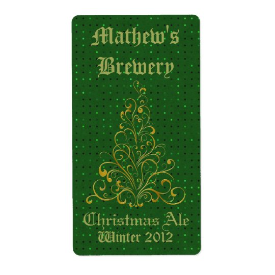 Green & Gold Custom Holiday Beer Labels