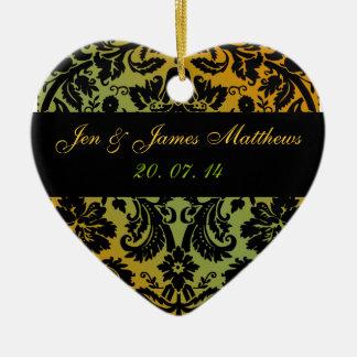 Green Gold Damask Wedding Favour Ornament