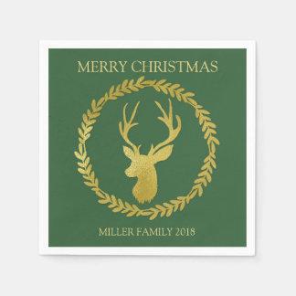 Green Gold Deer Wreath Custom Christmas Napkin Disposable Serviettes