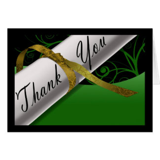 Green & Gold Diploma Thank You Card Greeting Cards