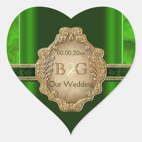 Green gold envelope wedding seal