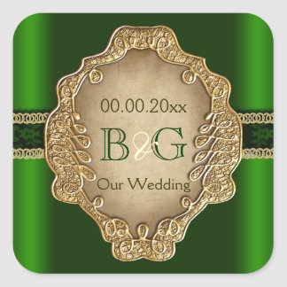 Green gold envelope wedding seal #3 square sticker