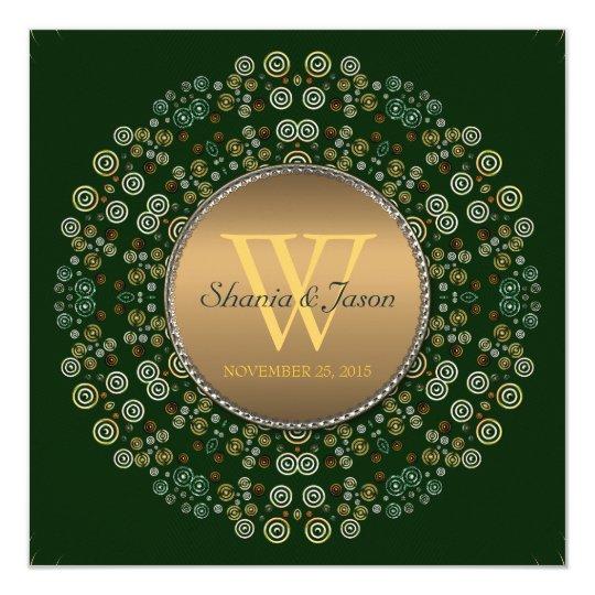 Green & Gold Eternal Circle Monogram Wedding Card