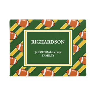 Green Gold Football  Pattern Doormat