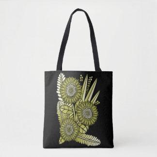 Green Gold Gerbera Daisy Flower Bouquet Tote Bag