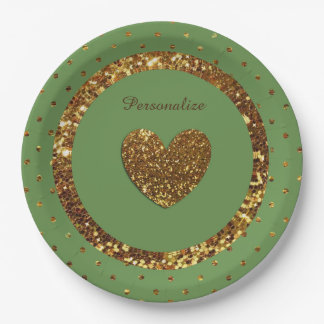 Green & Gold Glitter Personalized Paper Plates