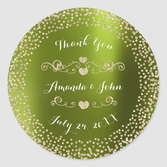 Green Gold Glitter Save the Date Thank You