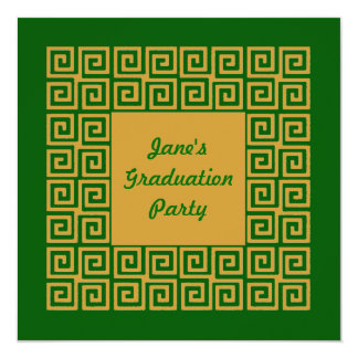 Green & Gold Key Pattern Party Invitation