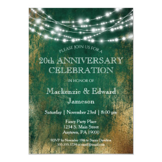 Green Gold Lights Anniversary Party Invitation
