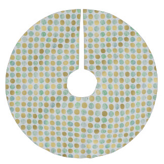 Green Gold Mod Dots - Christmas Tree Skirt Brushed Polyester Tree Skirt