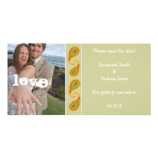 Green & Gold Paisley Save the Date  Your Photo Card