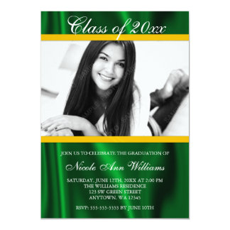 "Green Gold Satin Photo Graduation Announcement 5"" X 7"" Invitation Card"