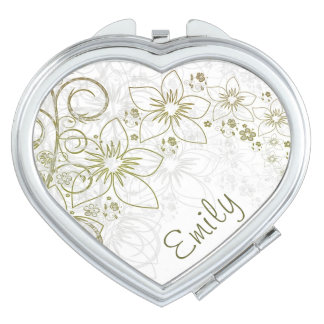 Green & Gold Simple Floral With Name Travel Mirror