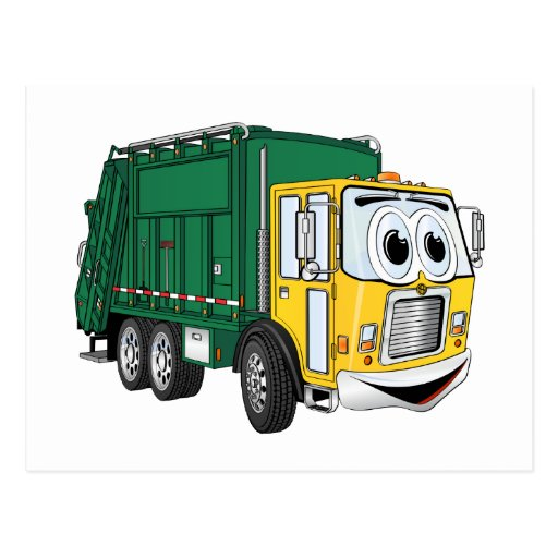 Green Gold Smiling Garbage Truck Cartoon Post Cards