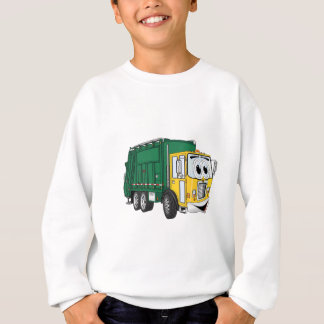 Green Gold Smiling Garbage Truck Cartoon Sweatshirt