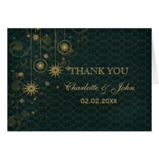 green gold Snowflakes Winter wedding Thank You Greeting Cards