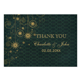 green gold Snowflakes Winter wedding Thank You Custom Announcements