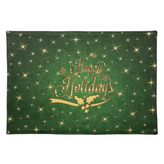 Green Gold Star Happy Holidays Napkins Placemat