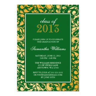 "Green Gold Swirl Damask Graduation Announcement 5"" X 7"" Invitation Card"